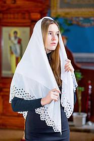 """Шифоновый платок женский на голову для церкви красивый со стразами """"Айва"""" белого цвета"""