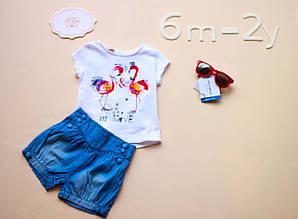 Детские  шорты для девочки лен, синие 0-2  BRUMS Италия 151BEBL001