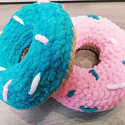 Дитяча в'язана плюшева подушка, подарунок, пончик ручної роботи