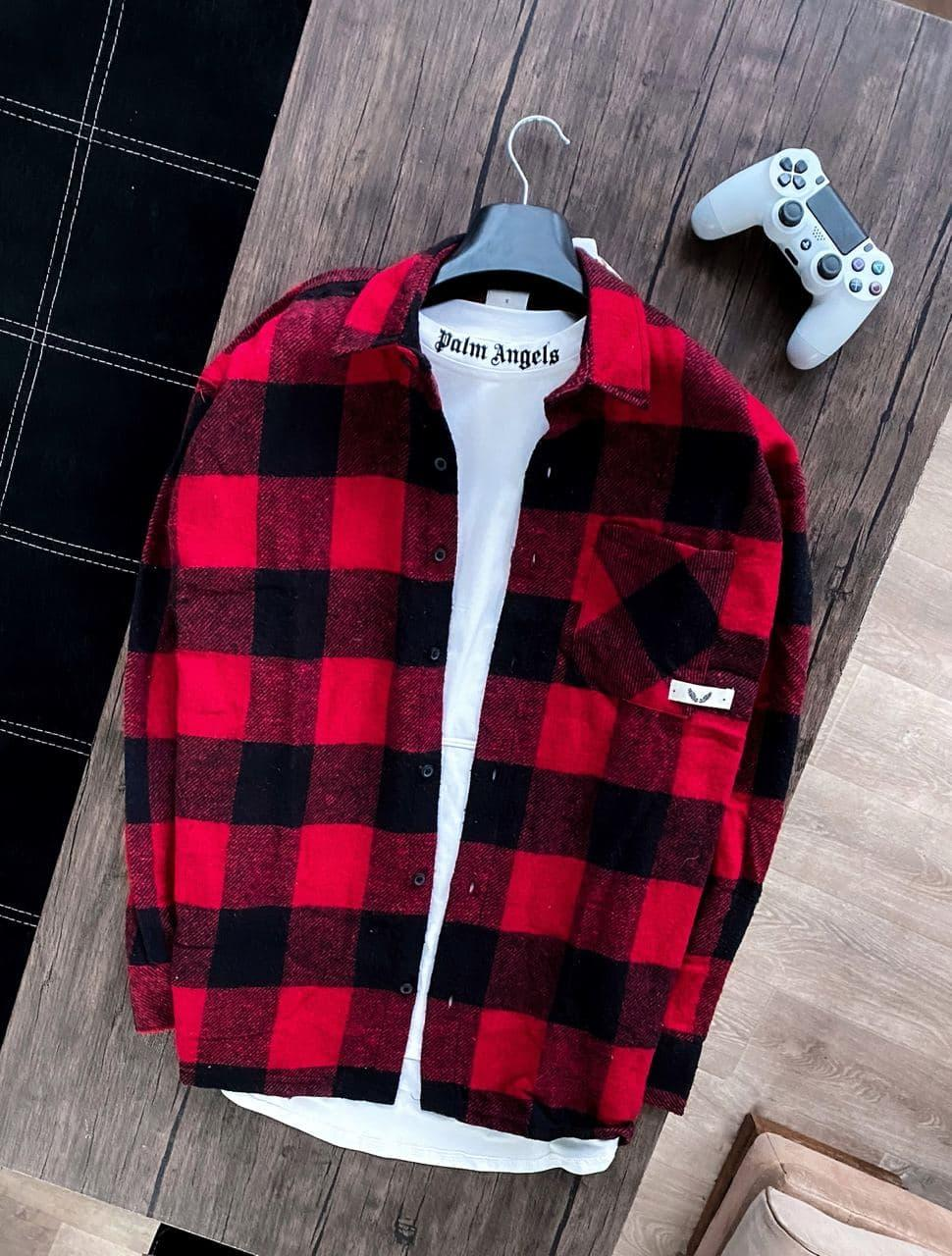Мужская байковая рубашка черно-красного цвета в клетку