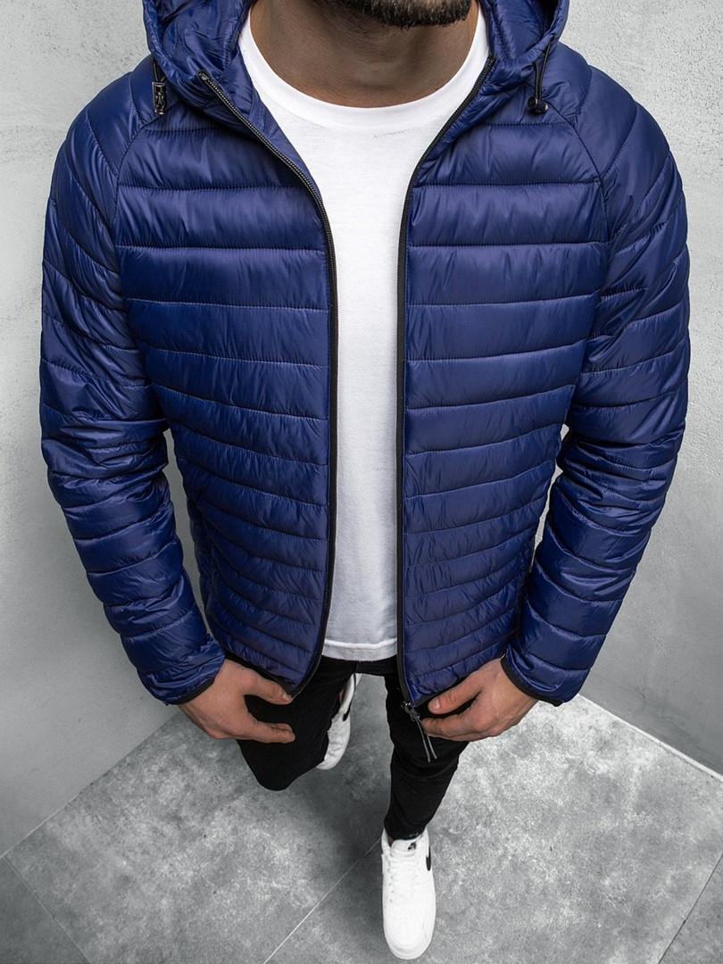 Чоловіча куртка J. Style синього кольору стьобана з капюшоном