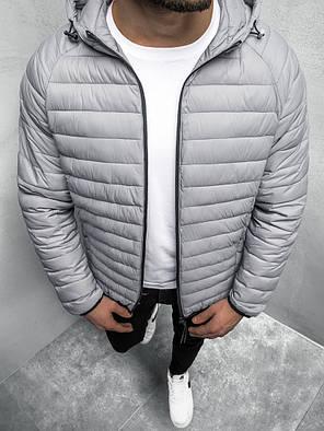Мужская куртка J.Style серого цвета стеганая с капюшоном, фото 2