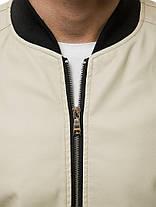 Чоловіча куртка з екошкіри бежевого кольору, фото 3