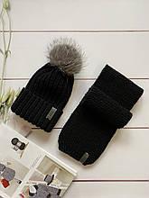 Демисезонный детский вязаный набор шапочка и шарфик для мальчика ручной работы .