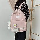 Рюкзак для девочки школьный, водонепроницаемый цвета пудры с ромашкой  Rentegner., фото 5