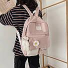 Рюкзак для девочки школьный, водонепроницаемый цвета пудры с ромашкой  Rentegner., фото 4