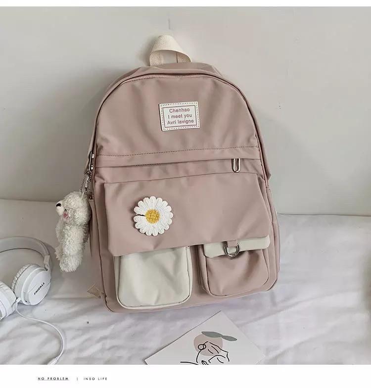 Рюкзак для девочки школьный, водонепроницаемый цвета пудры с ромашкой  Rentegner.