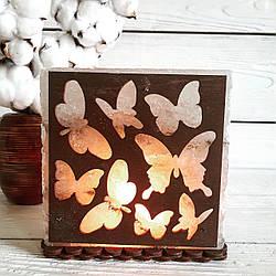 Соляная лампа Бабочки, 3-4 кг, (16*16*7 см)
