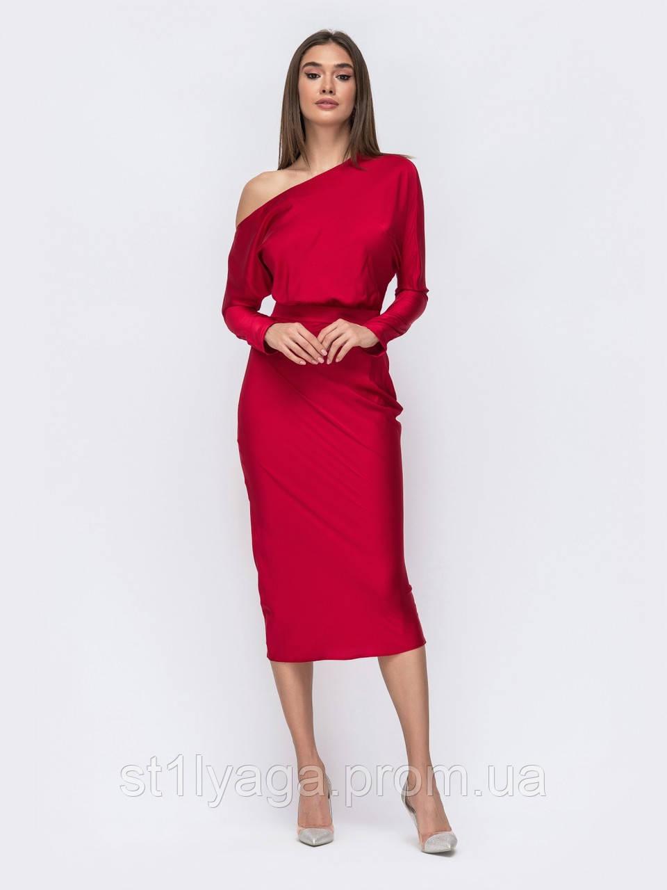 Облегающее платье-миди на одно плечо
