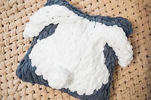 Дитяча в'язана плюшева подушка, подарунок, ручної роботи зайчик