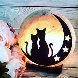 Соляная лампа Коты на Луне, 3-4 кг, (16*16*7 см)