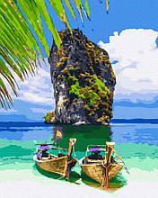 Картина по номерам Rainbow Art Чудеса Тайланда GX39335-RA Пейзаж Природа Вода горы лодка море