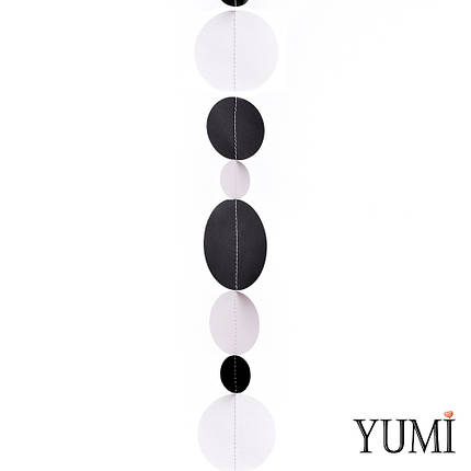 Декор: Гірлянда картон плоска Чорні та білі кола 1,5 м, фото 2