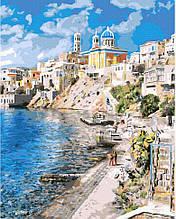 Картина по номерам Rainbow Art Красивая Греция GX37903-RA Пейзаж Природа Вода горы лодка море
