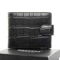 Кошелек кожаный мужской ченрый стильный на кнопке Bretton 208-Y107