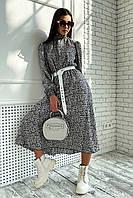 ✔️Женское платье миди шифоновое 42-48 размера с цветочным принтом разные расцветки