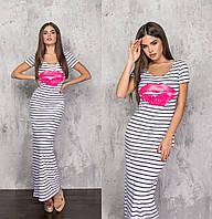 Довге жіноче плаття біле в смужку (2 кольори) ТК/-61244