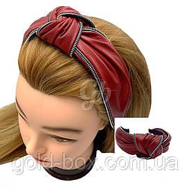 Обідок чалма для волосся еко-шкіра червона