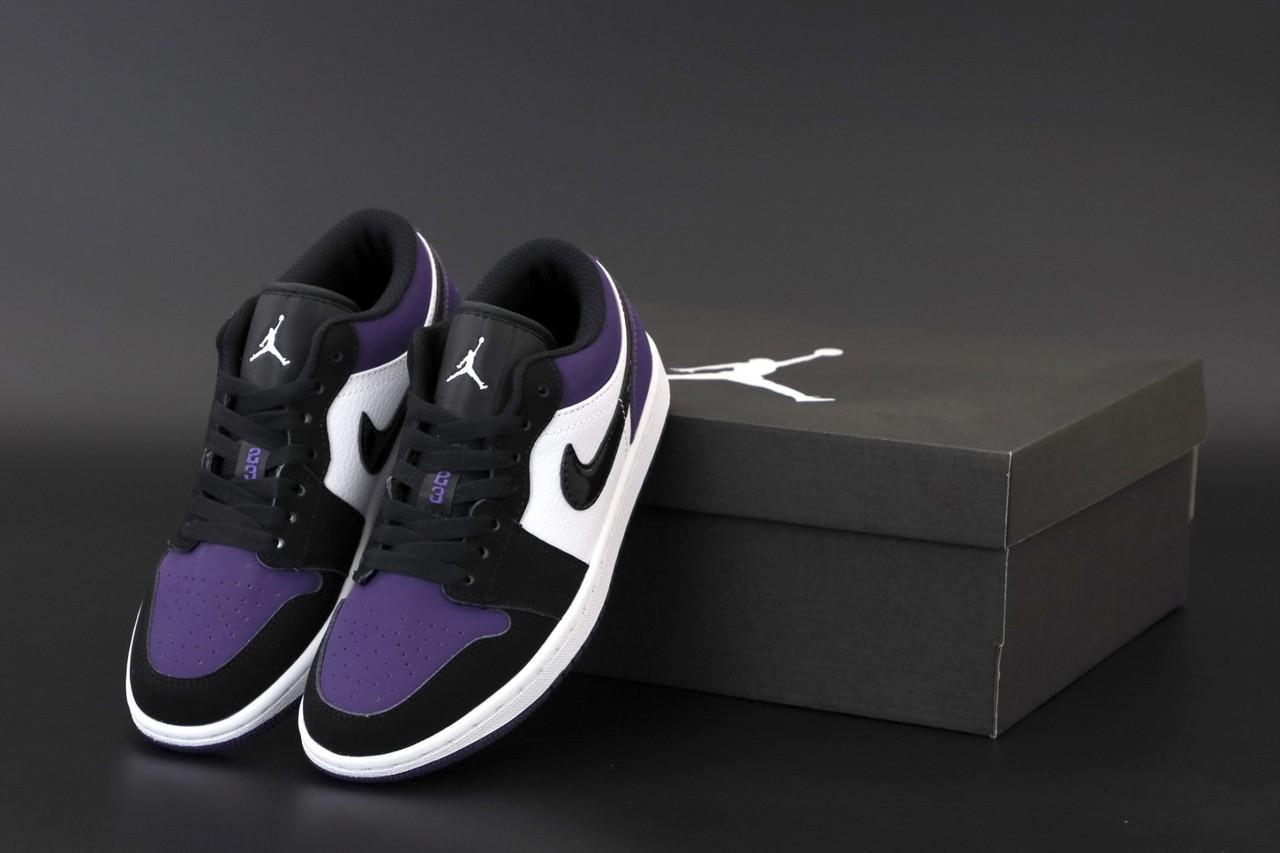 Женские кроссовки Джордан 1 Retro черные с фиолетовим