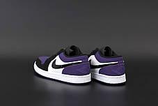 Женские кроссовки Джордан 1 Retro черные с фиолетовим, фото 3