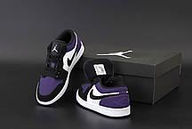 Женские кроссовки Джордан 1 Retro черные с фиолетовим, фото 2