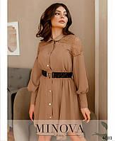 Елегантне плаття-сорочка, оздоблена мереживом з рядом гудзиків з 42 по 48 розмір, фото 3