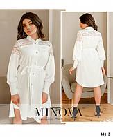 Елегантне плаття-сорочка, оздоблена мереживом з рядом гудзиків з 42 по 48 розмір, фото 4