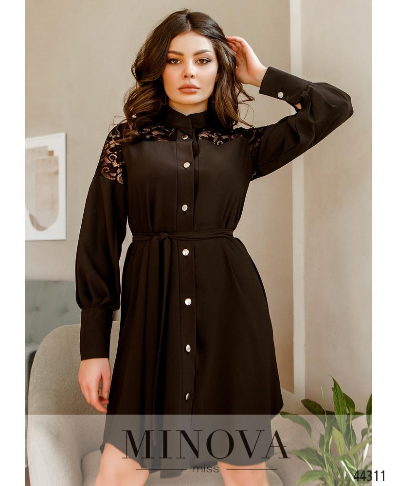 Елегантне плаття-сорочка, оздоблена мереживом з рядом гудзиків з 42 по 48 розмір