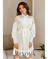 Елегантне плаття-сорочка, оздоблена мереживом з рядом гудзиків з 42 по 48 розмір, фото 2