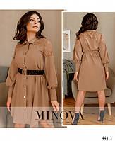 Елегантне плаття-сорочка, оздоблена мереживом з рядом гудзиків з 42 по 48 розмір, фото 5