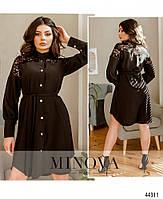 Елегантне плаття-сорочка, оздоблена мереживом з рядом гудзиків з 42 по 48 розмір, фото 6