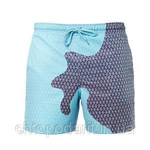 Шорты хамелеон для плавания, пляжные мужские спортивные меняющие цвет Синий-голубой в квадраты Код 26-0015