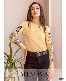 Свитшот футболка с  тату  рукавами, принт имитация татуировки цвет беж, черный,  размеры 42-44, 46-48