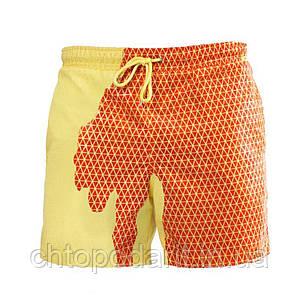 Шорты хамелеон для плавания, пляжные мужские спортивные меняющие цвет Желто-оранжевый в квадраты Код 26-0016