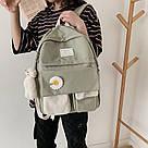 Рюкзак для девочки школьный, водонепроницаемый цвета хаки с ромашкой Rentegner., фото 10