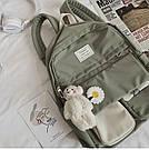 Рюкзак для девочки школьный, водонепроницаемый цвета хаки с ромашкой Rentegner., фото 5