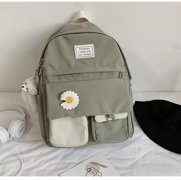 Рюкзак для девочки школьный, водонепроницаемый цвета хаки с ромашкой Rentegner.