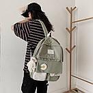 Рюкзак для девочки школьный, водонепроницаемый цвета хаки с ромашкой Rentegner., фото 9