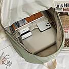 Рюкзак для девочки школьный, водонепроницаемый цвета хаки с ромашкой Rentegner., фото 7