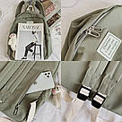 Рюкзак для девочки школьный, водонепроницаемый цвета хаки с ромашкой Rentegner., фото 4