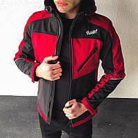 "Молодежная мужская не промокаемая весенняя куртка ""Раунд"" красная с черным - XL"