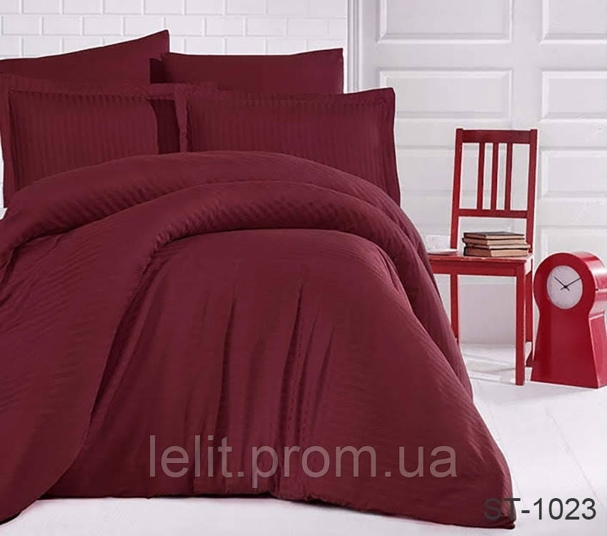 Евро комплект постельного белья Страйп-Сатин LUXURY ST-1023