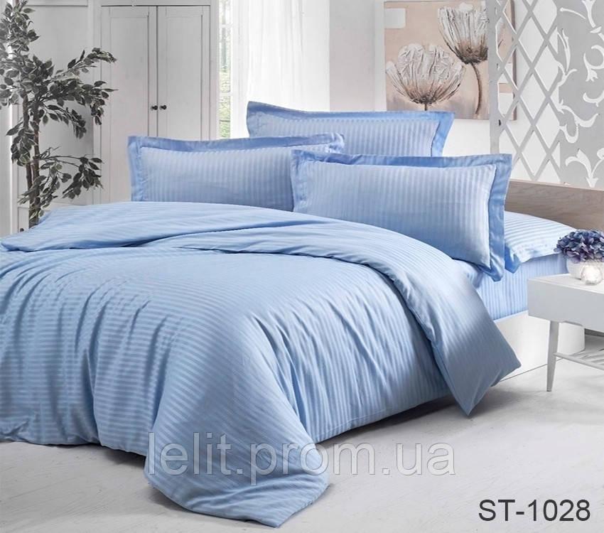 Евро комплект постельного белья Страйп-Сатин LUXURY ST-1028