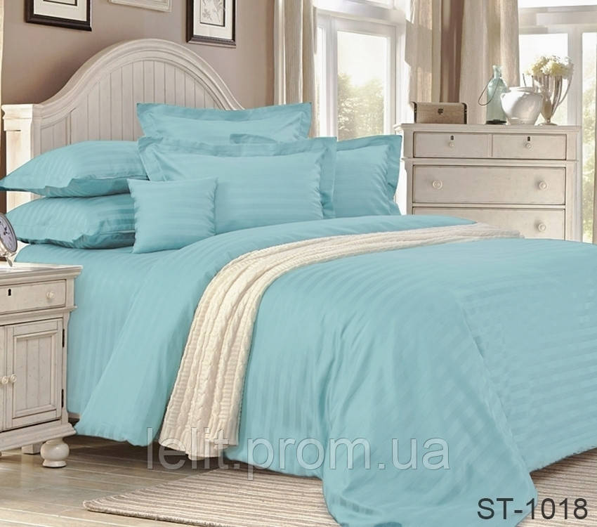 Семейный комплект постельного белья Страйп-Сатин LUXURY ST-1018