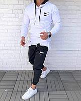 Спортивный костюм мужской Nike double весенний осенний белый   Комплект Найк Кофта + Штаны ТОП качества
