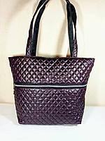 Сумка-шопер  стеганая с карманом женская  коричнево-бордовая