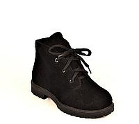 Ботинки подростковые демисезонные замшевые черные