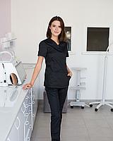 Медицинский женский костюм Топаз черный