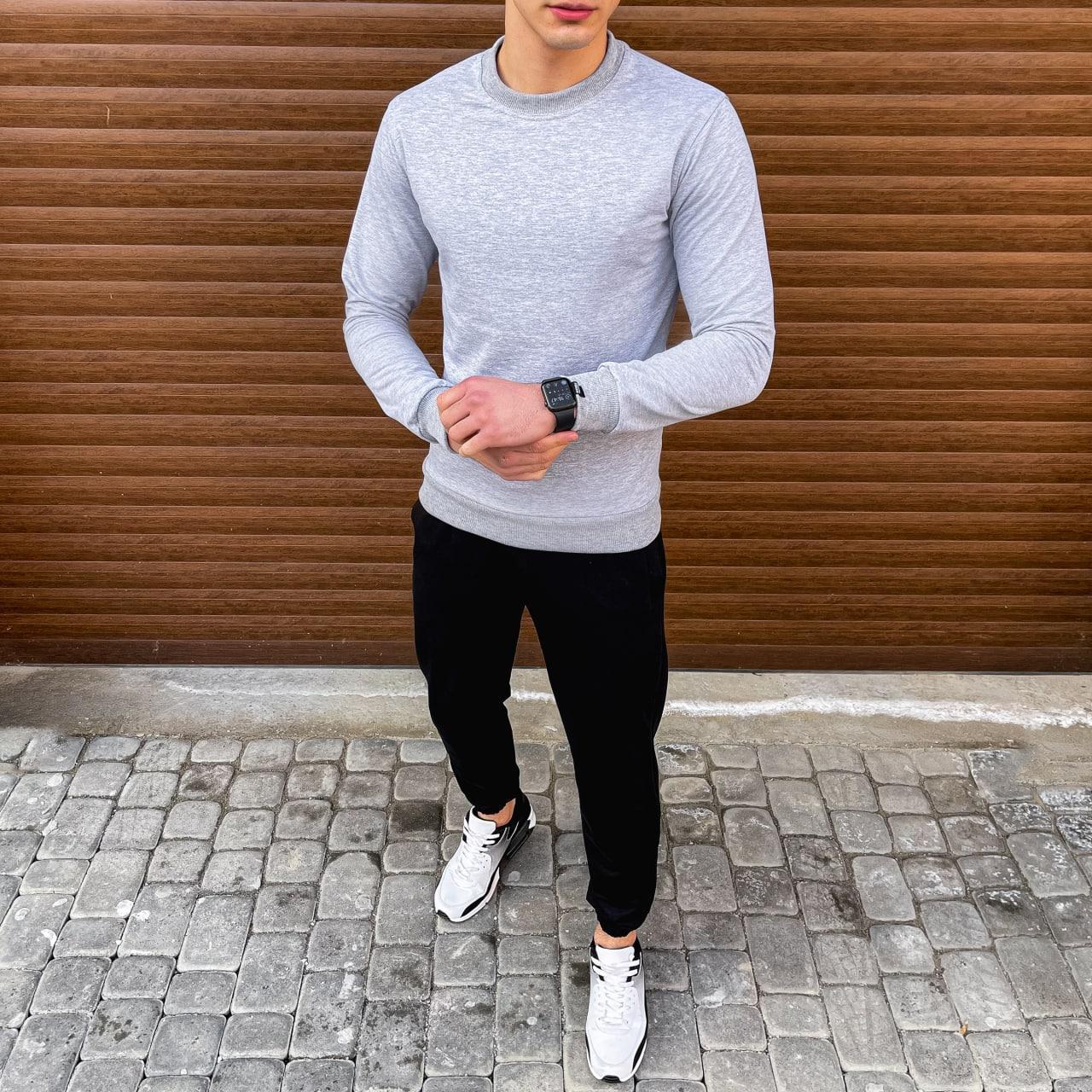 Комплект свитшот серый и джогери черные