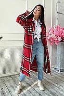 Женское длинное кашемировое пальто-рубашка в клетку (1685.4586-4585-4588 svt )